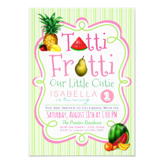 Girls Tutti Frutti Birthday Party Invitation