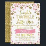 "Girls Twinkle Little Star Birthday Invitation<br><div class=""desc"">Are you looking for a little girl&#39;s 1st birthday invitation with some bling? This design might be ideal for you. It features various sized stars in faux gold glitter and pink and a pink banner. The background is white. Great for a gold pink theme 1st birthday party. Same design is...</div>"