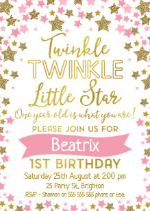 Girls Twinkle Little Star Birthday Invitation
