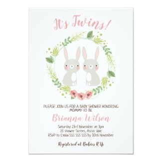 Girls Twins Bunny Baby Shower Invitation