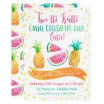 Hand shaped Girls Two-tti Frutti 2nd Birthday Invitation