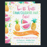 "Girls Two-tti Frutti 2nd Birthday Invitation<br><div class=""desc"">This colorful watercolor two-tti frutti 2nd birthday invitation is a great way to invite your two year old guests to her party. The design features two pineapples and slices of watermelon as well as a banner, a random dot pattern and a calligraphy and hand written style font. The background is...</div>"