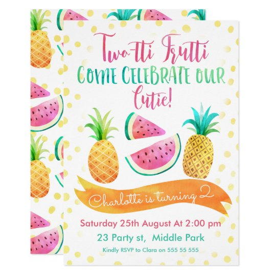 Girls Two Tti Frutti 2nd Birthday Invitation
