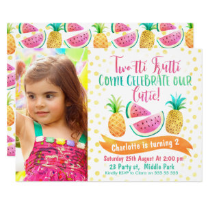Girls Two Tti Frutti Photo 2nd Birthday Invitation