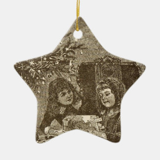 girls under a christmas tree christmas tree ornament