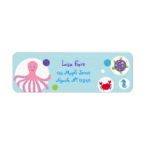 Girls Under the Sea Baby Shower Address Labels