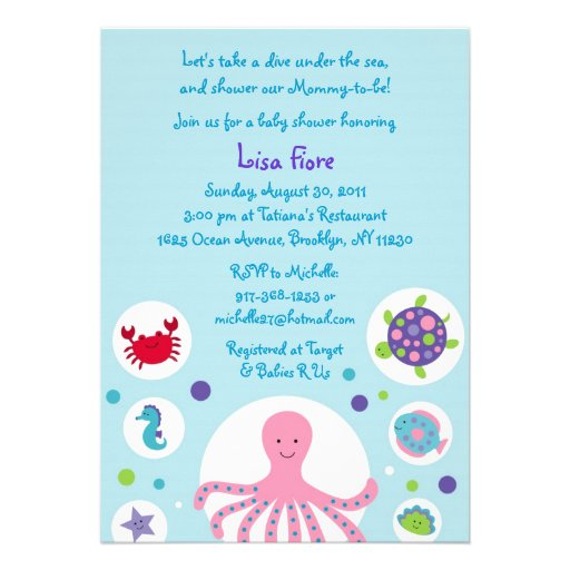 girls under the sea baby shower invitations 5 x 7 invitation card