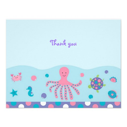 Girls Under the Sea Flat Thank You Note Cards