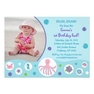 Girls Under the Sea Nautical Birthday Invitations