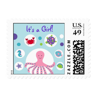 Girls Under the Sea Personalized Postage Stamps