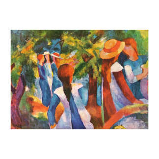 Girls Under the Trees August Macke Stretched Canvas Prints