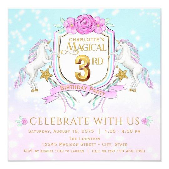 Girls Unicorn 3rd Birthday Party Invitations