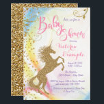 "Girls Unicorn Baby Shower Invitations<br><div class=""desc"">Girls Unicorn baby shower invitations with gold unicorn on a gold sparkle pastel rainbow background. This beautiful unicorn baby shower invitation is easily customized for your event by simply adding your details in the font style of your choice. You can also add a background color. This is a printed design...</div>"