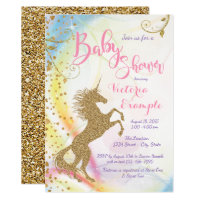 Girls Unicorn Baby Shower Invitations