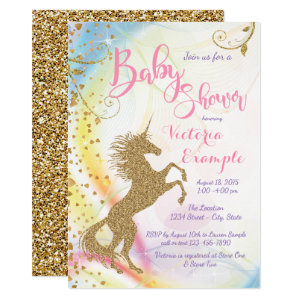 Purple and Gold Baby Shower Invitations, Unicorn