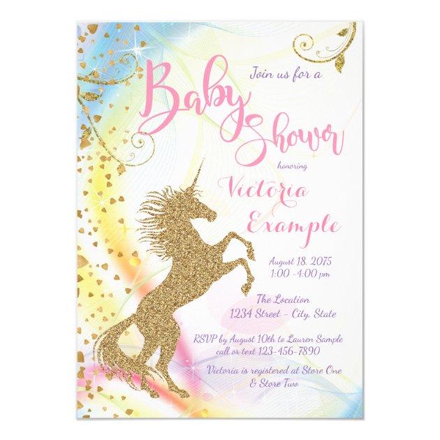 Girls Unicorn Baby Shower Invitations Mimoprints