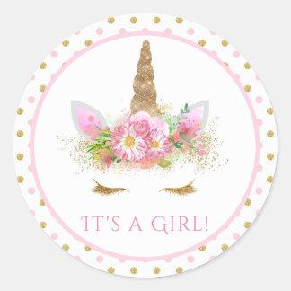 Girls Unicorn Baby Shower Stickers