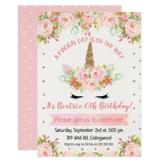 Girls Unicorn Birthday Invitation