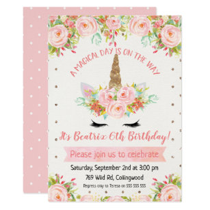 Birthday invitations zazzle girls unicorn birthday invitation stopboris Choice Image