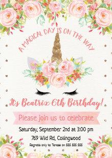 Girl birthday invitations announcements zazzle girls unicorn birthday invitation filmwisefo Image collections