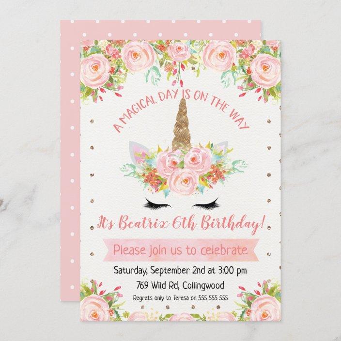 girls unicorn birthday invitation zazzle com