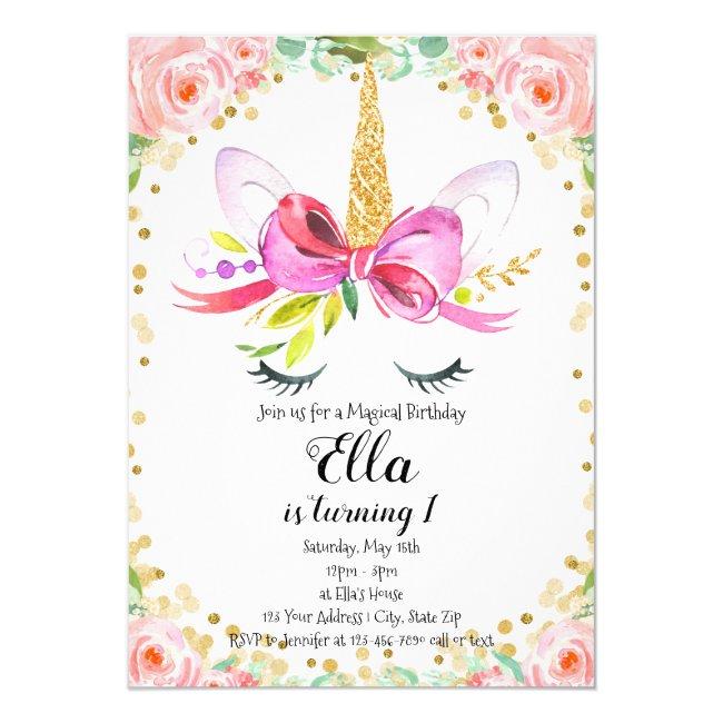 Girls Unicorn Birthday Invitation Pink Floral Gold