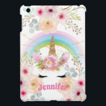 """Girls Unicorn Face Personalized Gift Case For The iPad Mini<br><div class=""""desc"""">Pretty watercolor unicorn face, rainbow and flowers item with a text field where you can add a name or other text as desired. This item can be used for any occasion. __________________________________________________________________________________ This design can be transferred to other products SEE RIGHT. __________________________________________________________________________________ For assistance FOLLOW this store and CONTACT Designer...</div>"""