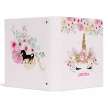 Girls Unicorn Face Pink Personalized 3 Ring Binder