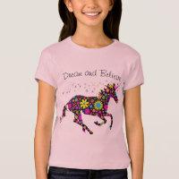 Girl's Unicorn FLowers T-Shirt