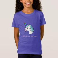 Girls Unicorn Rainbow T-shirt violet