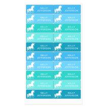 Girls Unicorn School Daycare Waterproof Blue Green Kids' Labels