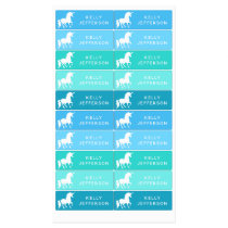 Girls Unicorn School Daycare Waterproof Blue Green Kids' Labels