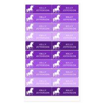 Girls Unicorn School Daycare Waterproof Purple Kids' Labels