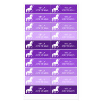Girls Unicorn School Daycare Waterproof Purple Kids' Labels