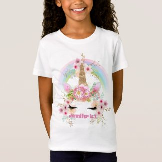 Girls UNICORN T-shirt Name and Age Pink Gold