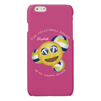 girls' vball blue gold happy place smiley emoji glossy iPhone 6 case