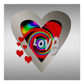 """Girl's""""Vibrant Love Heart """"Poster Poster"""