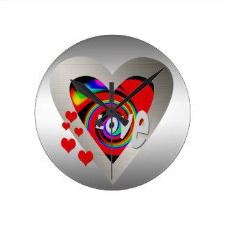 "Girl's""Vibrant Love Heart ""Wall Clock"