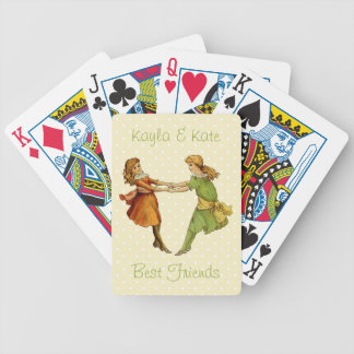Girls Vintage Best Friends Bicycle Playing Cards