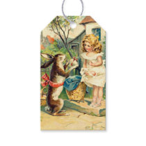 Girls Vintage Easter Bunny Gift Tags