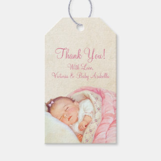 Attractive Girls Vintage Pink Baby Shower Gift Tags