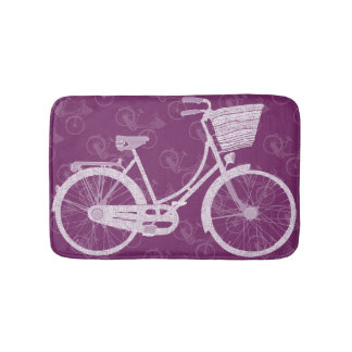 Girl  39 s Vintage Retro Purple Bicycle Bath Mat. Girl Retro Bath Mats   Zazzle