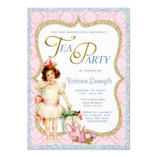 Girls Vintage Tea Party Card