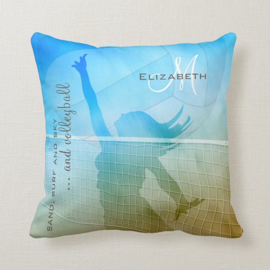 Girls' volleyball at the beach throw pillow