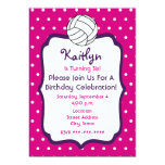 Girls Volleyball Birthday Invite- Pink With Purple 5x7 Paper Invitation Card