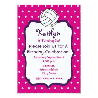 Girls Volleyball Birthday Invite- Pink With Purple Card