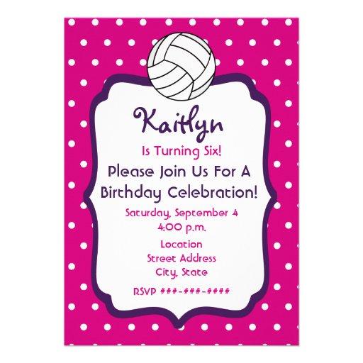 Girls Volleyball Birthday Invite- Pink With Purple