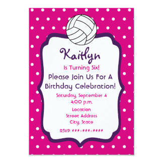 "Girls Volleyball Birthday Invite- Pink With Purple 5"" X 7"" Invitation Card"