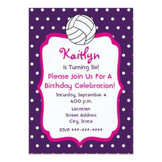 Girls Volleyball Birthday Invite- Purple With Pink Card