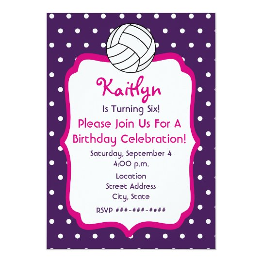 Volleyball invitations announcements zazzle girls volleyball birthday invite purple with pink card stopboris Images